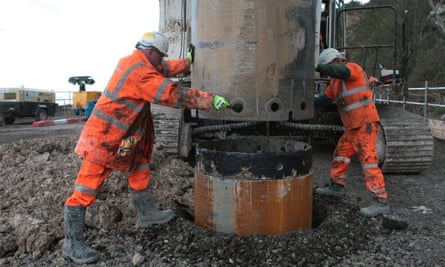 Concrete piles are being sunk at Shakespeare beach to shore up the Dover-Folkestone stretch of rail.
