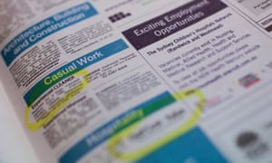 Job advertisements in a newspaper in Canberra.