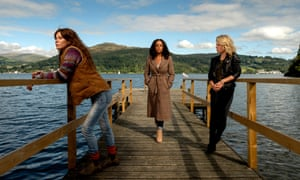 Anna Friel as Lisa Kallisto, Rosalind Eleazar as Kate Riverty and Sinead Keenan as Roz Toovey, in ITV's Deep Water