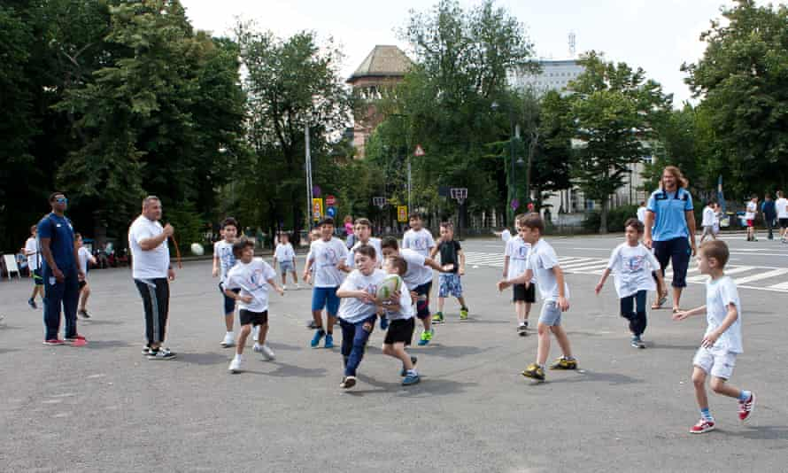 Children play rugby at Via Sport.