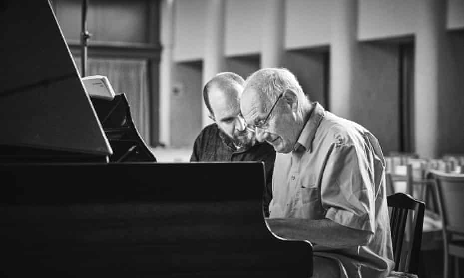 Pianist Kirill Gerstein and Ferenc Rados recording Mozart: Sonatas for Piano Four Hands.