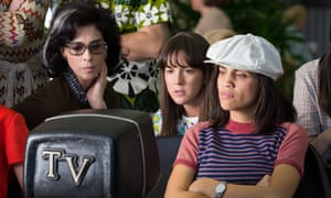 Smash hit: (from left) Sarah Silverman, Martha MacIsaac and Natalie Morales in Battle of the Sexes.