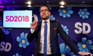 Leader Jimmie Åkesson speaks at the far-right Sweden Democrats' election-night party.