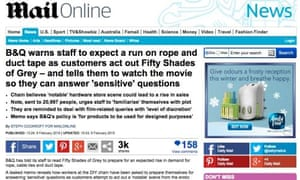 Mail Online's version of the B&Q 50 Shades of Grey story