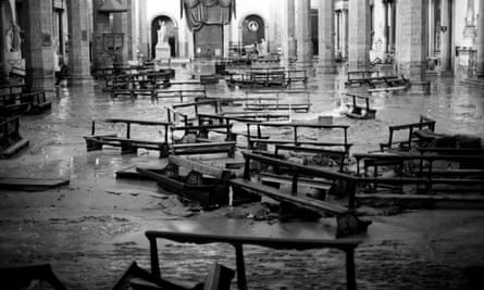 The interior of the basilica of Santa Croce during the 1966 flood.