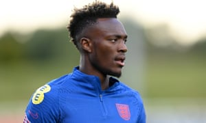 Tammy Abraham looks on during a training session at St Georges Park on October 05, 2021 in Burton-upon-Trent, England.