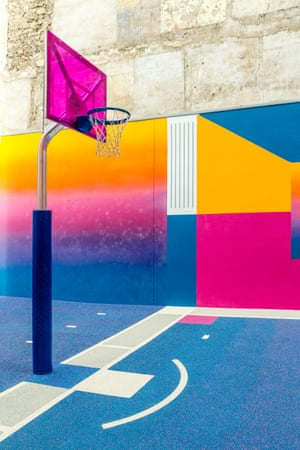 A basketball court in the district of Pigalle, Paris by photographer Sebastian Erras created by Nike and fashion label Pigalle.