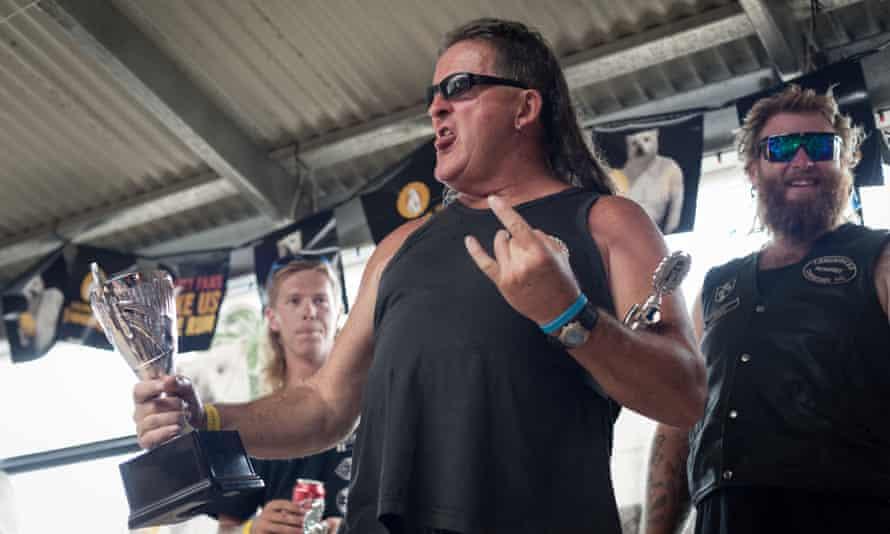 Shane 'Shag' Hanrahan is crowned best mullet during Mullet Fest 2018 at Kurri Kurri, NSW.