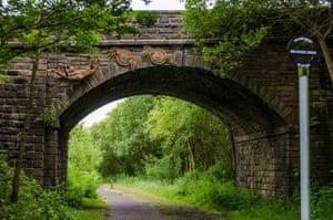 Railway bridge over a cycle path