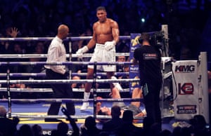 Anthony Joshua knocks down Klitschko for the final time in the 11th round.