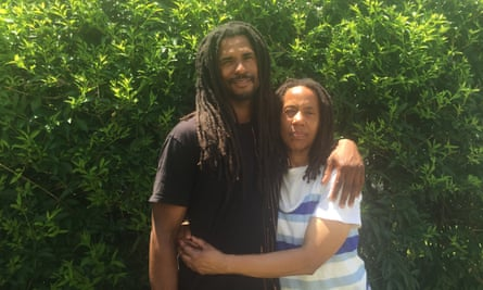 Debbie Sims Africa with her son after her release from prison.