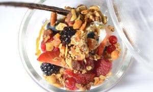 Bircher muesli with fresh fruit and Greek yoghurt at Northcote, Lancashire.