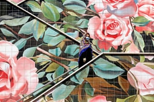 Tehran, Iran A pedestrian climbs a decorated stairway in the capital