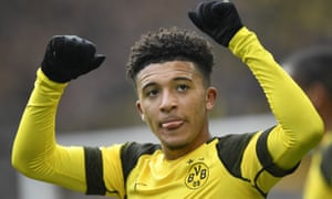 Dortmund's Jadon Sancho celebrates after scoring against Mainz