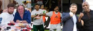 Ramzan Kadyrov with gerard depardieu, diego maradona and mike tyson