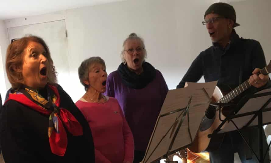 Wide open spaces … the Brits choir singing in the studio.