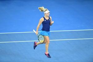 Australia's Daria Gavrilova celebrates after her win against Timea Bacsinszky of Switzerland.