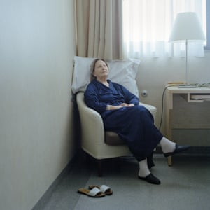 Milan, Italy. Serenella Pacifici, 71, in the surgery ward of the European Institute of Oncology, waiting to be operated on for lung cancer