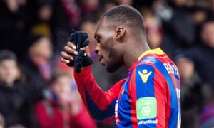 Christian Benteke after missing a penalty for Crystal Palace against Bournemouth.
