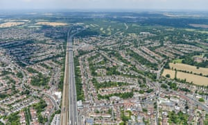 An aerial view of Edgware in Outer London.