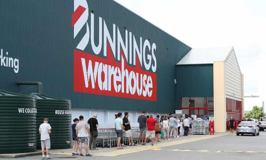 Shoppers queue outside Bunnings in Myaree, Perth, Australia.