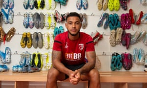 Joshua King pictured in the boot room at Bournemouth FC