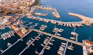 Aerial view of Limassol marina, Cyprus.