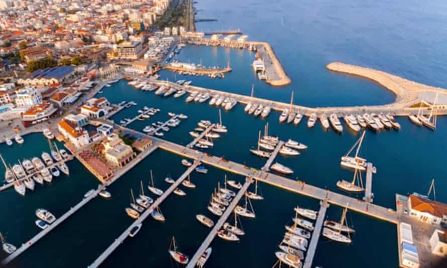 Aerial view of Limassol marina, Cyprus.