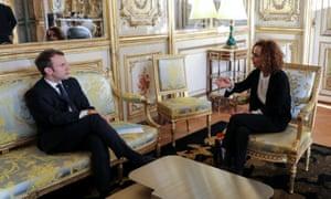 Leïla Slimani with Emmanuel Macron at the Élysée Palace in Paris in November 2017