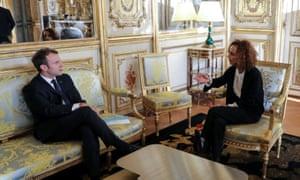 Slimani with Emmanuel Macron at the Elysée Palace, Paris.