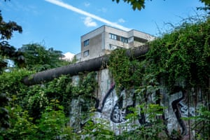 Vegetation covers a remaining section of the Berlin Wall
