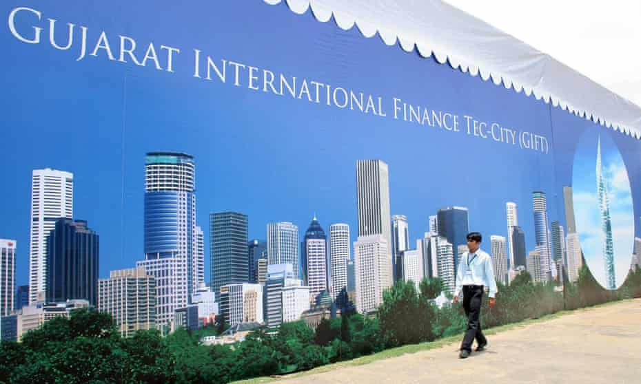 A poster advertising one of India's new smart cities, the Gujarat International Finance Tec-City, or Gift City.