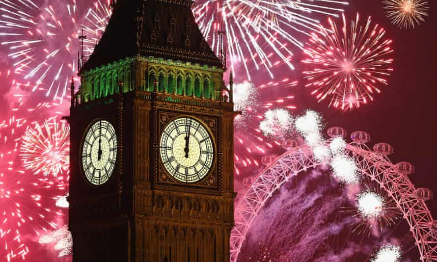 The New Year Is Celebrated In London With A Firework Display.