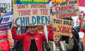 Schoolchildren in Bristol protest at the UK government's proposed education cuts.