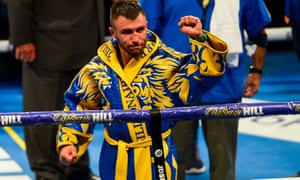 Vasyl Lomachenko  salutes the crowd after beating Luke Campbell