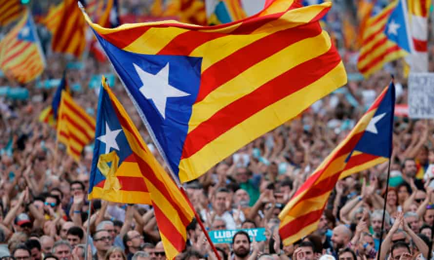 Catalan flags at a demonstration in Barcelona on Saturday