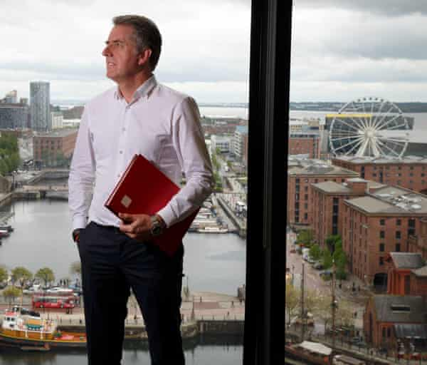 Steve Rotheram, the mayor of the Liverpool City region, in his office overlooking Liverpool Waterfront.