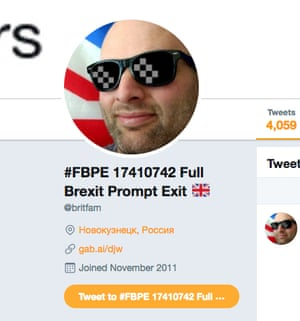 Leave-supporting social media users with the #FBPE hashtag have sometimes had their posting location set to be from Russia