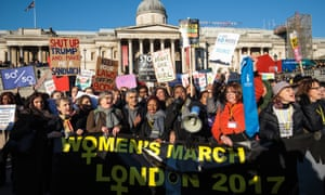 Protesters chant as they arrive in Trafalgar Square during the Women's March on London.
