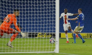 Christian Benteke of Crystal Palace scores the winner.
