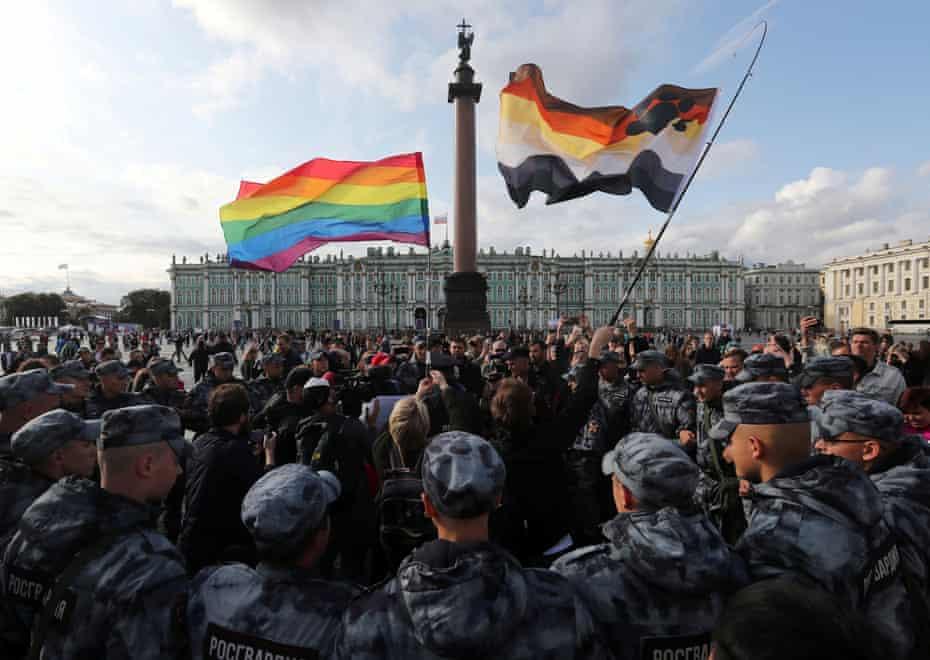 Troops encircling people at Pride in St Petersburg, Russia in 2019.