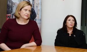 Home secretary Amber Rudd with Karen Mackie