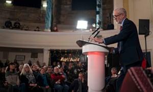 Jeremy Corbyn giving his speech in Hastings.