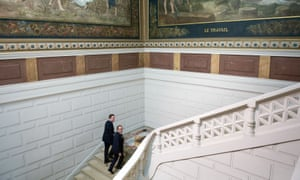 David Cameron and French president Francois Hollande arrive at the Musee de Picardie in Amiens for their joint press conference