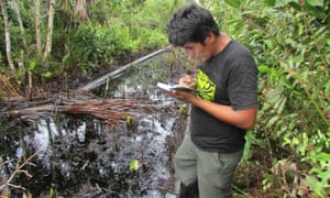 A Kukama environmental monitor, from indigenous organization ACODECOSPAT, inspects oil contamination in the Pacaya Samiria National Reserve in Peru's Amazon.