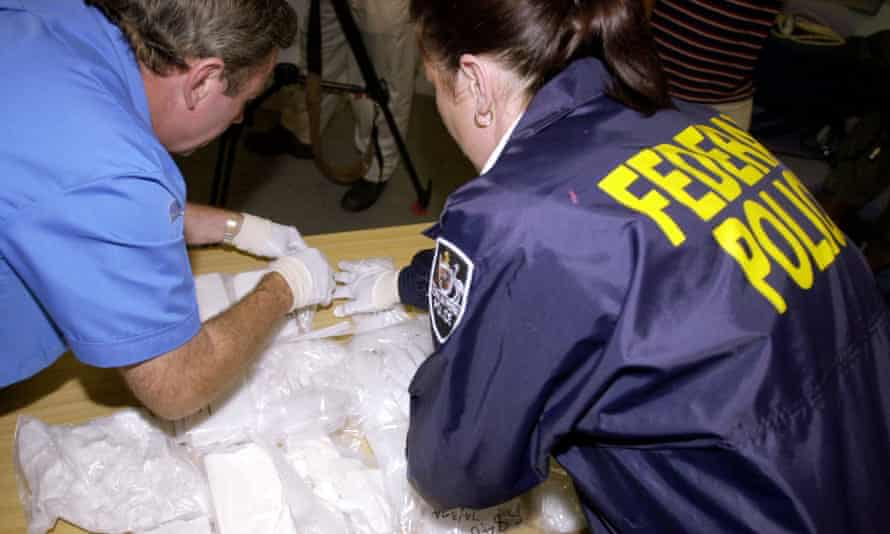 Federal Police display a haul of heroin and 'ice' after a massive $200m drug bust.