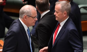 Prime minister Scott Morrison and leader of the opposition Bill Shorten during division in the House of Representatives at Parliament House in Canberra, 6 December 2018.