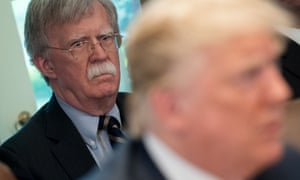 Donald Trump speaks alongside national security adviser John Bolton in Washington, DC, on 9 May 2018
