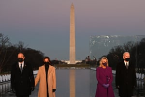The president, vice president and their spouses at the Lincoln Memorial Covid ceremony in January 2021.