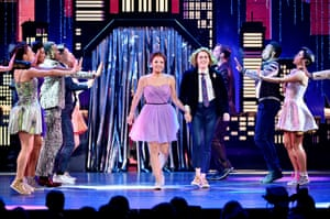 Isabelle McCalla, Caitlin Kinnunen and the cast of The Prom perform onstage